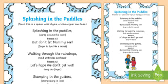 Splashing in the Puddles Rhyme - rainy day, song, rhyme, pitter patter, weather