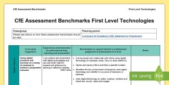 CfE First Level Technologies Assessment Benchmarks Assessment Tracker - CfE Benchmarks, tracking, assessing, progression, technologies,