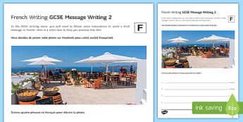 GCSE French Message Writing 2 Foundation Tier Activity Sheet-French, worksheet