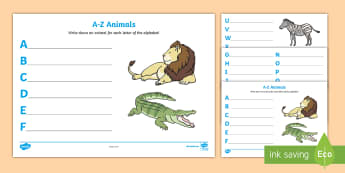 A-Z Animals Activity Sheet - A-Z Animals Activity Sheet - alphabet, worksheet, challange, aplhabet, aphabet, alphablet, alpahabet