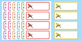 Parrot Themed Editable Drawer Peg Name Labels - parrot, editable, edit, drawer, peg, name, label
