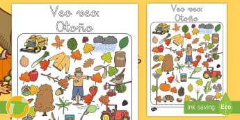 Ficha de actividad: Veo veo - Otoño - estaciones, juego, animales, objetos, visual, ,Spanish