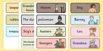 Stig of the Dump Vocabulary Cards - stig, vocabulary, cards, dump