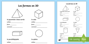 Feuilles d'activités : Les propriétés des formes en 3D  - Les propriétés des formes en 3D - formes, 3d, feuilles d'activités, propriétés, 3D Shape Prope