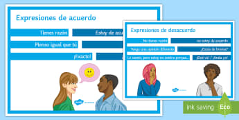Agreeing and Disagreeing Expressions Display Poster - Spanish Speaking Practice, agreeing, disagreeing, expressions, speaking