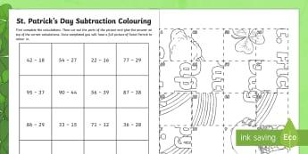 NI St. Patrick's Subtraction Colouring Activity Sheet - la feile padraig, Lá féile Pádraig, La Fheile Phadraig, lá le Phádraig, NI St. Patrick's Day Resources KS2, St. Patrick's Day, Naomh Pádraig, Colouring Activity, Subtrac