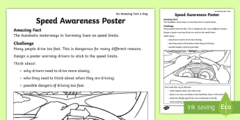 Speed Awareness Poster Activity Sheet - Amazing Fact Of The Day, activity sheets, powerpoint, starter, morning activity, March, poster, desi
