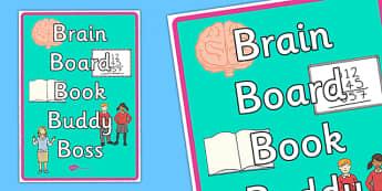 Brain Book Board Buddy Boss Display Poster - posters, displays