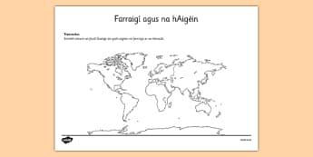 Farraigí agus na hAigéin Irish Seas and Oceans Activity Sheet Gaeilge - Irish, gaeilge, seas, oceans, map, activity sheet, worksheet