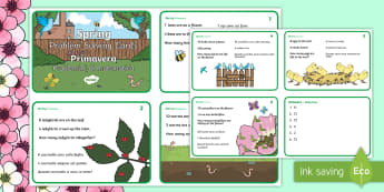 Spring Maths Challenge Cards - English/Italian - NI, Spring, addition, subtraction, bird, worm, egg, ks1 maths, Italian, EAL, Translated Resources