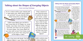 EYFS Beginning to Talk About the Shapes of Everyday Objects... Home Learning Challenge Sheet - Beginning to talk about the shapes of everyday objects, e.g. 'round' and 'tall', mathematics