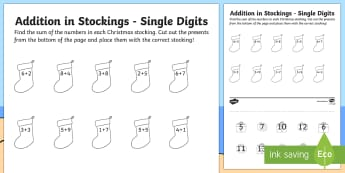 Single Digit Addition Christmas Activity Sheet - Christmas Australia, christmas, addition, single digit, mathematics, worksheet