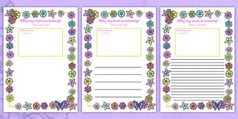 My Mum Is Amazing Page Borders Arabic Translation - arabic, Mother's day, my mum is amazing, page border, border, writing template, writing aid, writing, Mother's day activity, Mother's day resource