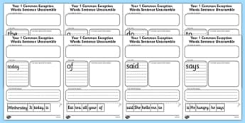 Year 1 Common Exception Words Sentence Unscramble - year 1, common, exception, words, sentence, tricky, high, frequency