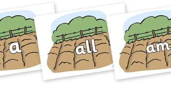 Foundation Stage 2 Keywords on Farm Fields - FS2, CLL, keywords, Communication language and literacy,  Display, Key words, high frequency words, foundation stage literacy, DfES Letters and Sounds, Letters and Sounds, spelling