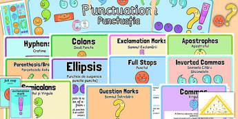 KS1 Punctuation Display Pack Romanian Translation - romanian, ks1, punctuation, display pack