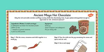Maya Hot Chocolate Recipe - maya, hot chocolate, mayan, recipe, history, food