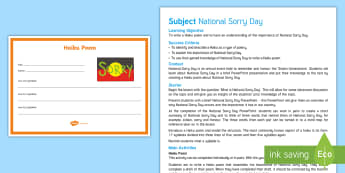 National Sorry Day Haiku Poem Lesson Plan - Australian Curriculum English, Literature, National Sorry Day, sorry, events, haiku, poem,Australia