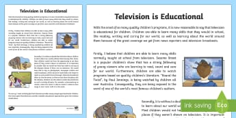 Television is Educational Exposition Writing Sample - Literacy, Television is Educational Exposition  Writing Sample, writing sample, writing, english, ye