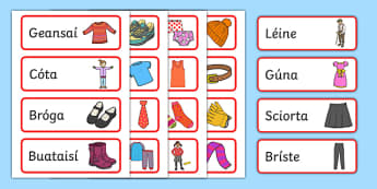 The Clothes Shop Word Cards Gaeilge - Irish, Gaeilge, role play, clothes, clothes shop, éadaí, eadai, an siopa éadaí, resource pack, clothes labels