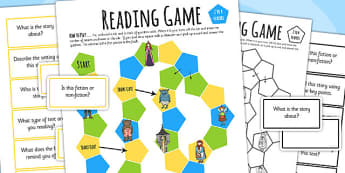 Reading Comprehension Board Game - read, books, board game, games, literacy, reading, comprehension