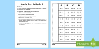 Squashy Boxes Division by 5 - Mental Maths Warm Up + Revision - Northern Ireland, squashy boxes, division by five, divide.