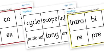 Prefix Bingo - prefix, bingo, game, fun, activity, grammar, English, prefix, beginning, syllable, first