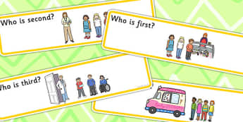 'Who Is...?' Ordinal Number Concept Cards Activity - concepts, order, SEN
