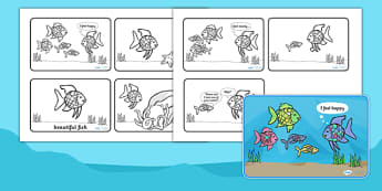 Story Sequencing (4-per-A4) to Support Teaching on The Rainbow Fish - The Rainbow Fish, Marcus Pfister, resources, Rainbow Fish, PSHE, PSE, octopus, shimmering scales, starfish, friendship, under the sea, sea, story, story book, story book resources,