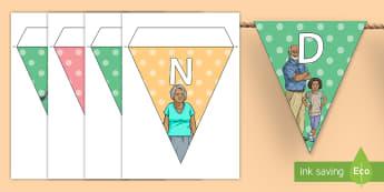 Grandparents Day Display Bunting - Grandparent's Day Pack, grandma, grandad, grandparents