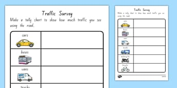 Traffic Survey Worksheet NZ - nz, new zealand, traffic survey, survey, how much traffic, car, bus, van, worksheet, sheet, lorries, motorbike, bicycle