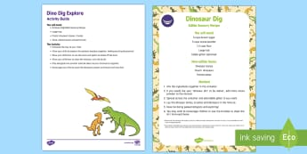 Dino Dig Explore Busy Bag Resource Pack for Parents - Dinosaurs, sensory play, messy play, fossils, bones