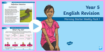 Year 5 English Revision Morning Starter Weekly PowerPoint Pack 1 - Y5, assessment, sentence function, poem, comprehension, apostrophes, silent letters,