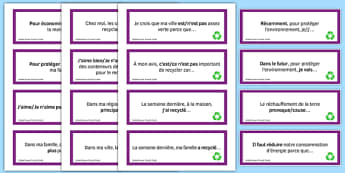 General Conversation Question Prompt Cards Global Issues - french, Conversation, Speaking, Questions, Environment, Environnement, Planet, Planète, Energy, énergie, Recycling, Recyclage, Poverty, Pauvreté, Homeless, SDF, Sans-abri, Cards, Cartes