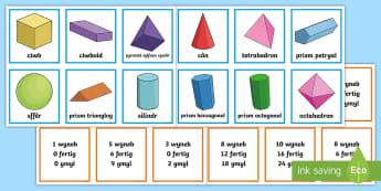 Cardiau Cyfatebu Priodweddau Siapiau 3D - Siâp 2D, defnyddio sgiliau geometreg, Siâp, siap, Siap, enwau siapiau 2D, cylch, Cylch, Sgwar, sgw