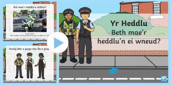 Pŵerbwynt Beth mae'r Heddlu'n ei wneud? - Heddlu, police, helpu, helping, uniform, gwisg, hat, hetsau, ceir, cars, ceffylau, horses, dillad ll