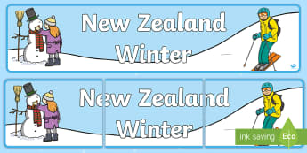 New Zealand Winter Display Banner - New Zealand, Winter, Seasons, Snow, Skiing, Snowboarding, Mountains, Ski Fields, Snow Day, banner