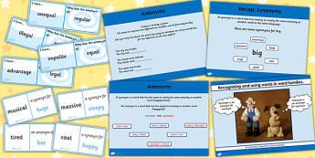 Identifying an Antonym SPaG Lesson Teaching Pack - spag, antonyms
