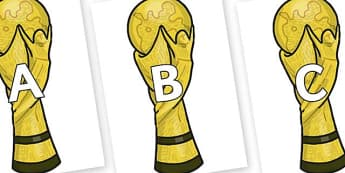 A-Z Alphabet on World Cup Trophy - A-Z, A4, display, Alphabet frieze, Display letters, Letter posters, A-Z letters, Alphabet flashcards