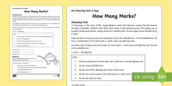 How Many Marks? Activity Sheet
