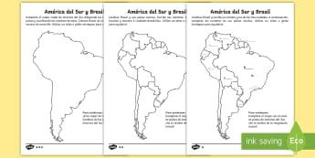 Ficha de actividad de atención a la diversidad: Mapa de Brasil - carnaval, mardi gras, carnestolendas, tradiciones, cuaresma, packs de planificación, mapas, mapa, m
