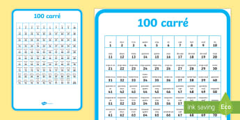 100 carre A2 Display Poster - Number square, hundred square, Counting, Numbers 0-100, 100s grid, 100s chart, 100s board, numeracy,