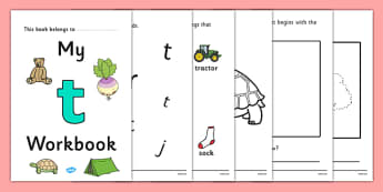 My Workbook t lowercase - workbook, t sound, lowercase, letters, alphabet, activity, handwriting, writing
