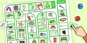 Self-Checking Blends and Clusters Board Game - alphabet, board game, check, blends, clusters