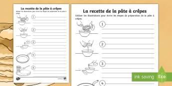 Support pour la production d'écrits : Les étapes de la recette de pâte à crêpes - La Chandeleur, recette, pâte à crêpes, cycle 2, cycle 3, KS1, pancake batter, recipe, candlemas,F
