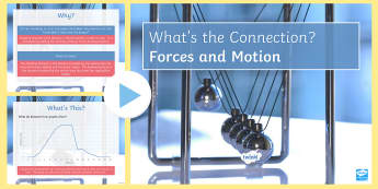 Forces and Motion What's the Connection? PowerPoint - KS4 What's the Connection?, Forces, Motion, Speed, Distance, Time, Acceleration, Distance-Time Grap