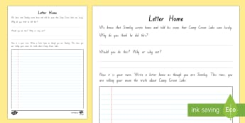 Stanley's Letter Home Activity Sheet to Support Teaching on Holes - New Zealand Chapter Chat, Chapter Chat NZ, Chapter Chat, Holes, Louis Sachar, Stanley