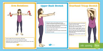 Cool-Down Stretches For the Arms Activity Pack - PE, Y6, Y5, Y4, Y3, stretching, stretches, stretch, cool down, arms
