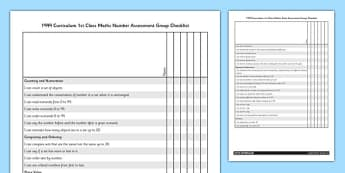 1999 Curriculum 1st Class Maths Number Assessment Targets Group Checklist - roi, irish, republic of ireland