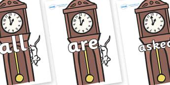 Tricky Words on Clocks - Tricky words, DfES Letters and Sounds, Letters and sounds, display, words